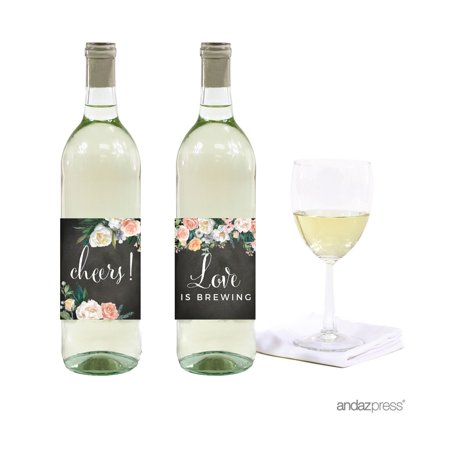 Peach Chalkboard Floral Garden Party Wedding Collection, Wine Bottle Labels, - Wedding Wine Bottle Labels