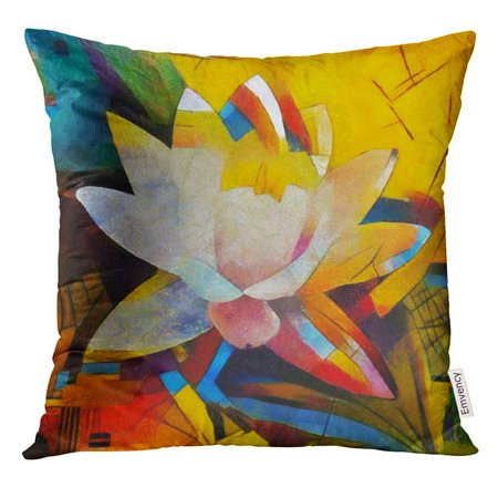CMFUN Floral Bouquet Abstraction in The Modern of Style Kandinsky Executed Oil on Canvas with Pastel Painting Pillow Case 20x20 Inches Pillowcase