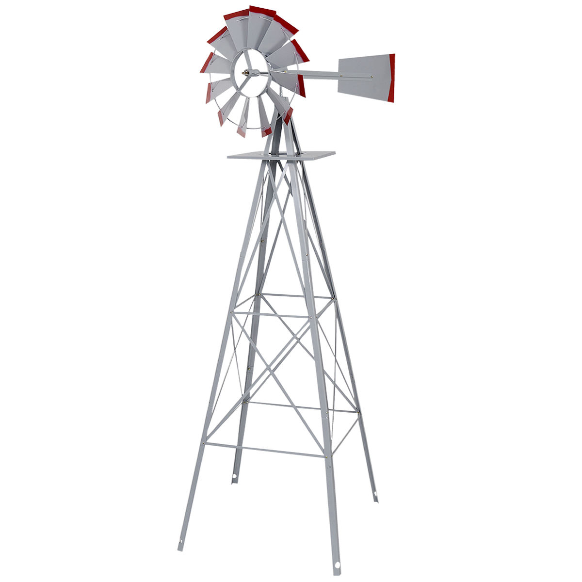 GHP 8-Feet Ornamental Wind Gray Steel Red Trimmed Blades Windmill Garden Weathervane by