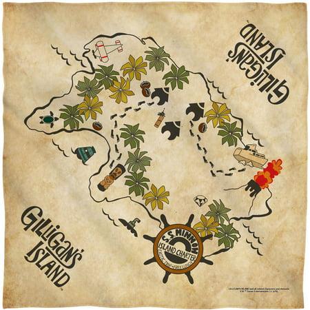 Gilligan's Island Map Bandana White