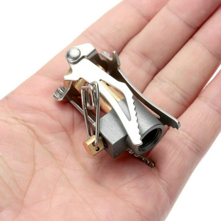 BALIGH 45g Ultralight Mini Pocket Stove Titanium Alloy Folding Camping Backpacking Gas Stove Outdoor Cooking Burner 3000W ()