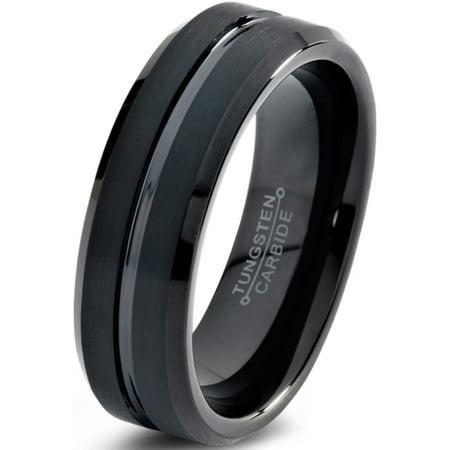 Tungsten Wedding Band Ring 4mm for Men Women Comfort Fit Black  Beveled Edge Polished Brushed Lifetime Guarantee