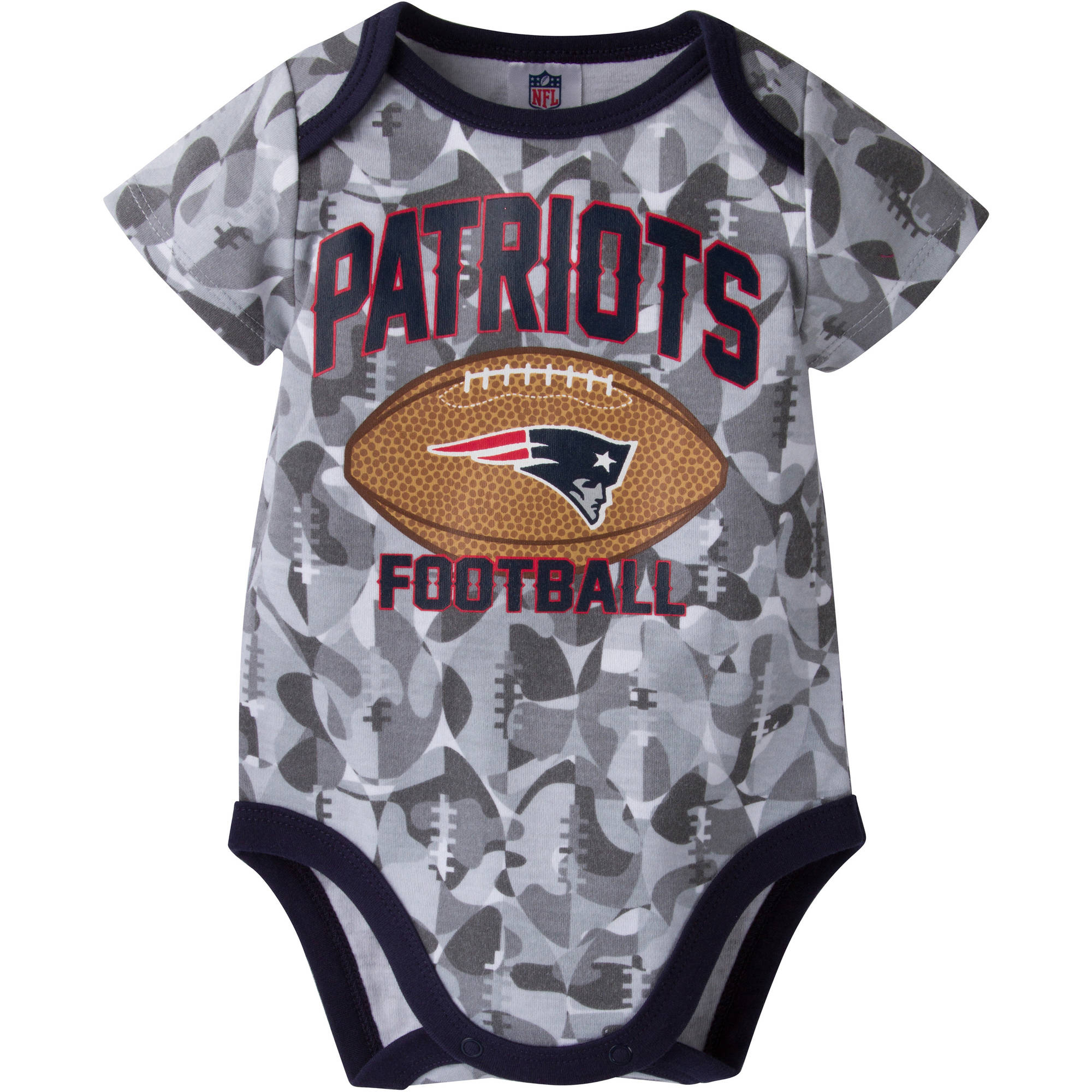NFL New England Patriots Baby Boys Short Sleeve Camo Bodysuit