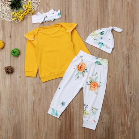 Adorable Newborn Baby Girls Tops Flower Pants Hat Headband Outfits Set Clothes