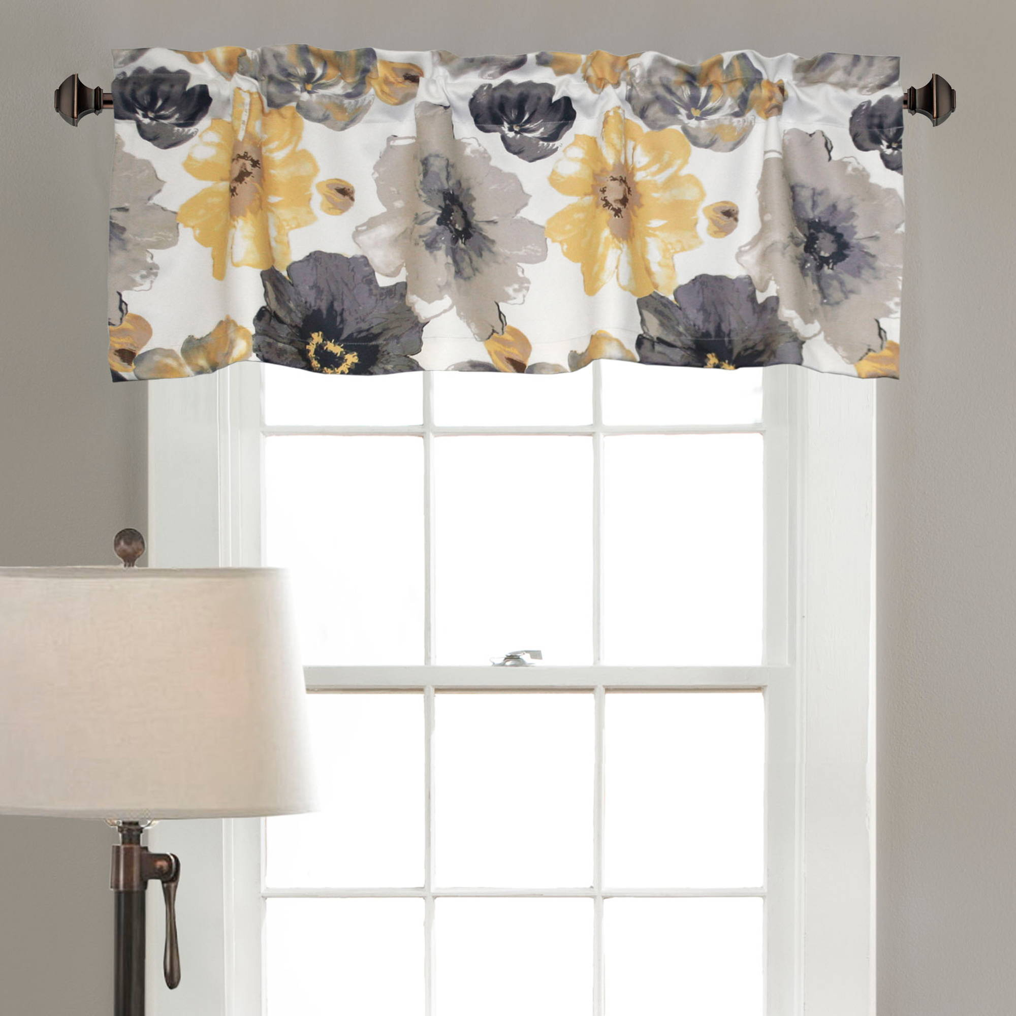 Leah Window Valance Yellow Grey by Generic