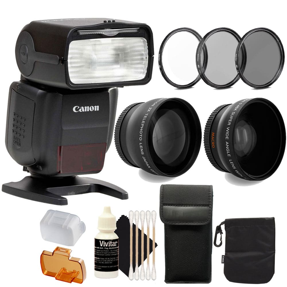 Canon SpeedLite 430EX III-RT Flash And Accessory Bundle f...