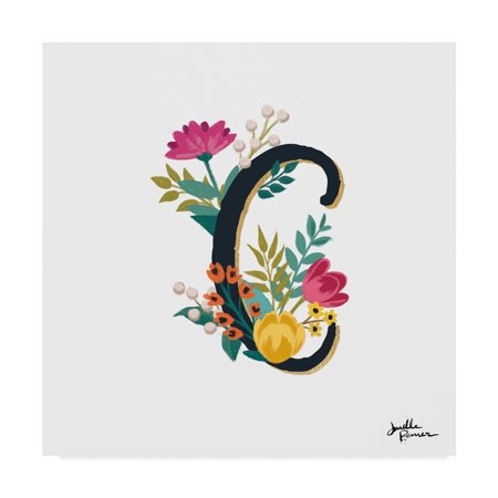 Trademark Fine Art 'Romantic Luxe Monogram C Black' Canvas Art by Janelle Penner