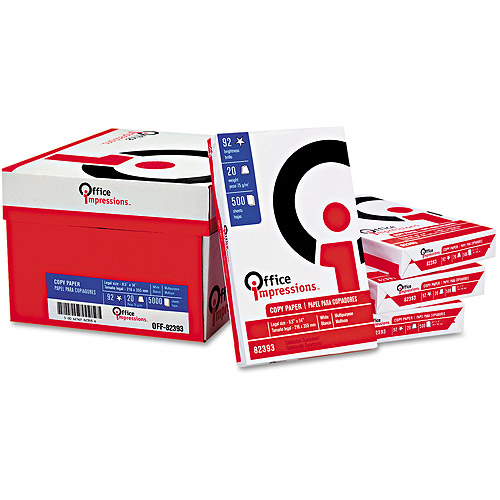 "Office Impressions 8-1/2""x14"" Legal Size Bulk Copy Paper, Case of 10 Reams (500 Sheets Per Ream)"