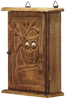 Premium Quality   Wooden Vintage Look Wall Mount Owl Key Box Holder / Key  Cabinet /