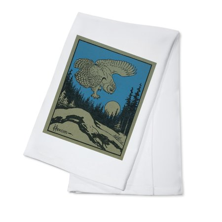 Nature Magazine - Owl Diving at a Mouse; Hunting in the Moonlight - Vintage Magazine Cover (100% Cotton Kitchen Towel)