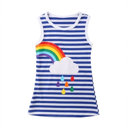 Sister Matching Cotton Girls Striped Rainbow Casual Dress Princess Dress Kids Baby Sleeveless Dress Party Tutu Dresses (Dress Sister Sam)