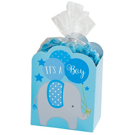 It's a Boy Blue Baby Shower Elephant Favor Boxes (8 - Shower Favor Boxes