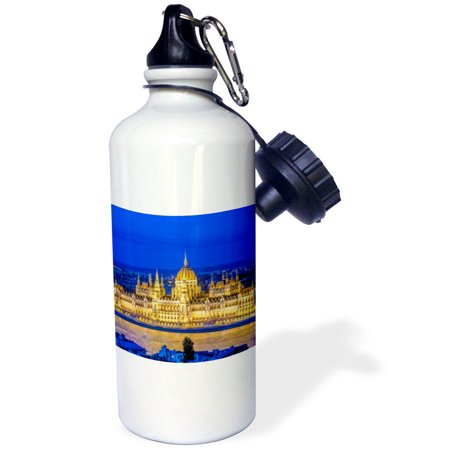 Hungarian Water - 3dRose Hungary, Budapest, Hungarian Parliament at Twilight., Sports Water Bottle, 21oz