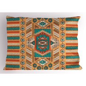 Tribal Pillow Sham Ethnic Aztec Secret Tribe Pattern in Native American Bohemian Style, Decorative Standard Size Printed Pillowcase, 26 X 20 Inches, Apricot Orange and Teal, by Ambesonne