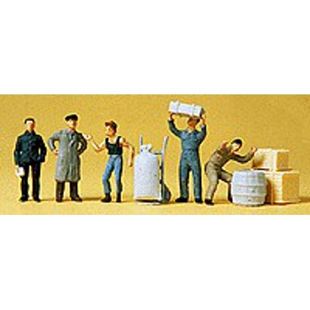 Preiser 14147 HO Scale Loading Dock Workers with Accessories (5)