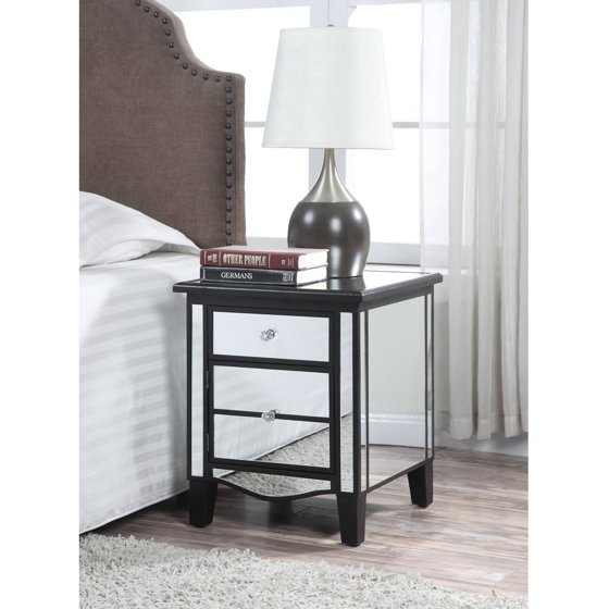 convenience concepts gold coast park lane mirrored end table multiple colors. Black Bedroom Furniture Sets. Home Design Ideas