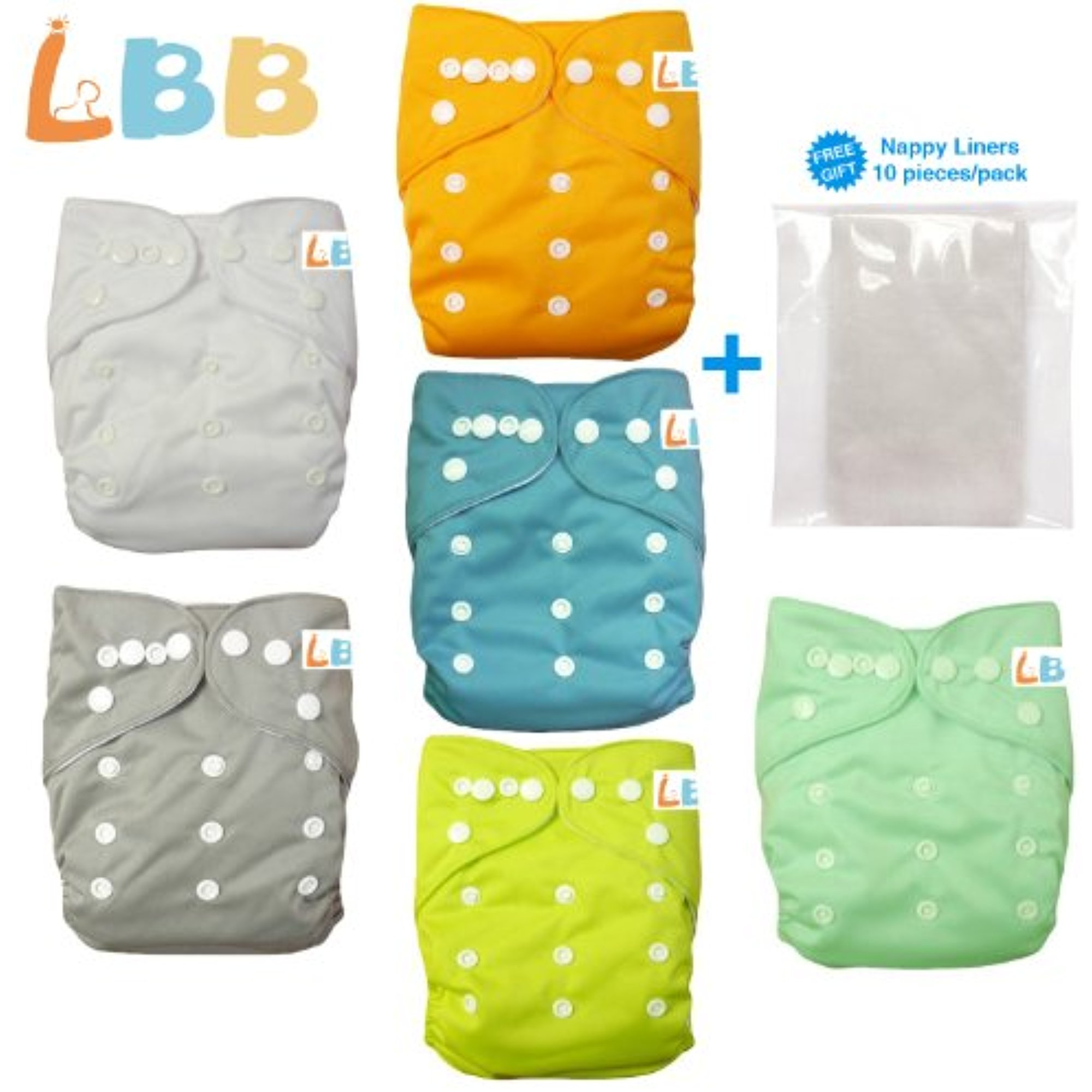 LBB Baby Cloth Diapers Washable With Adjustable Double Rows of Snaps, 6pcs Pack(Neutral Color)