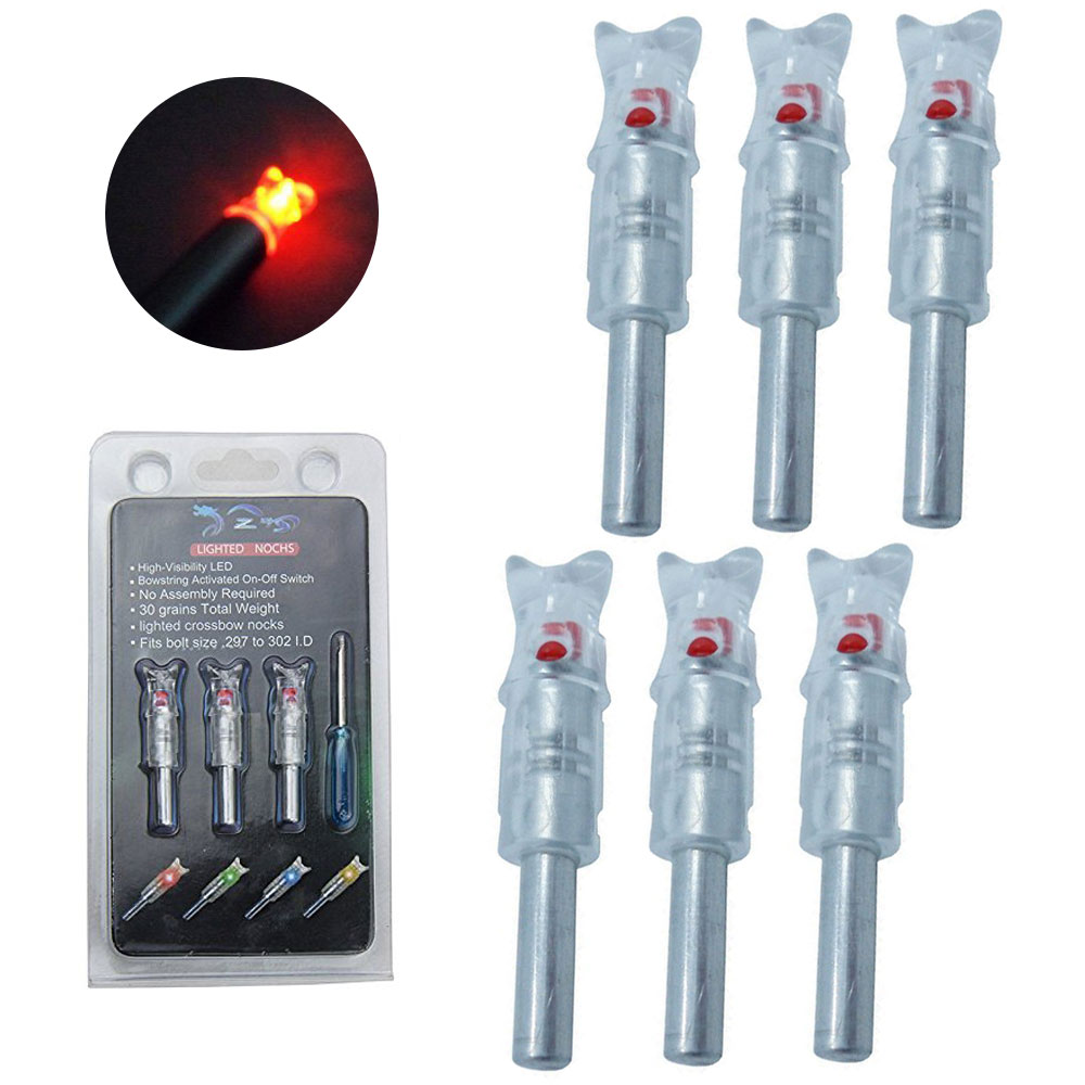 "6-pack Automatically Lighted Blue Led Arrow Nocks for Aluminum Crossbow Arrows 0.297"" 0.302""(7.6mm) Hunting"
