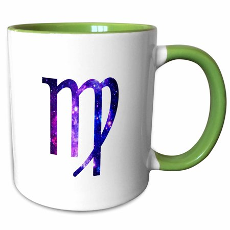 Virgo Sign - 3dRose Virgo horoscope symbol - purple zodiac glyph astrological star sign - Two Tone Green Mug, 11-ounce