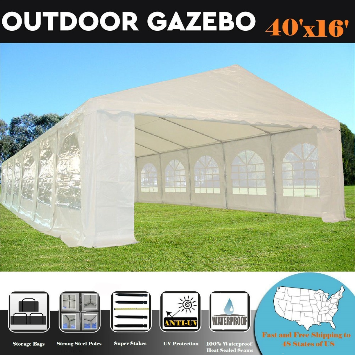 26'x16' PE Waterproof Party Tent Wedding Canopy Shelter White By DELTA Canopies by WPIC
