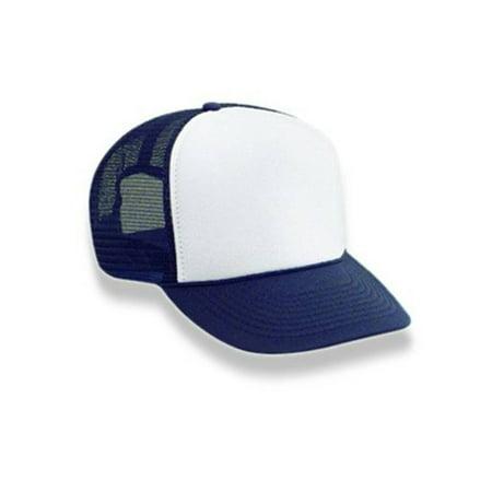 Retro Foam & Mesh Trucker Baseball Hat,Navy Blue/ White