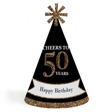 Adult 50th Birthday - Gold - Cone Birthday Party Hats for Kids and Adults - Set of 8 (Standard Size)