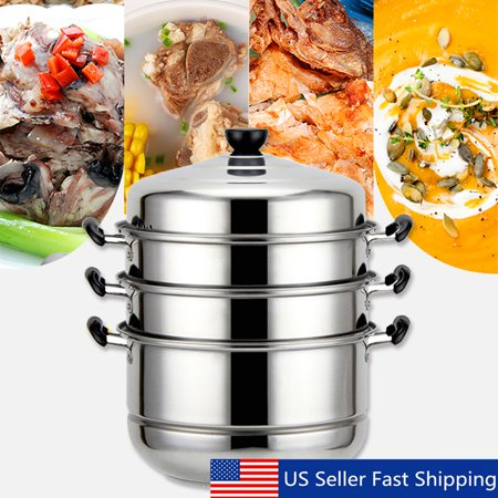 KingSo 4 Tiers Stainless Steel Steamer Pot Basket Metal Steaming Cookware for Food Vegetable Bamboo 32( Diameter)*47cm