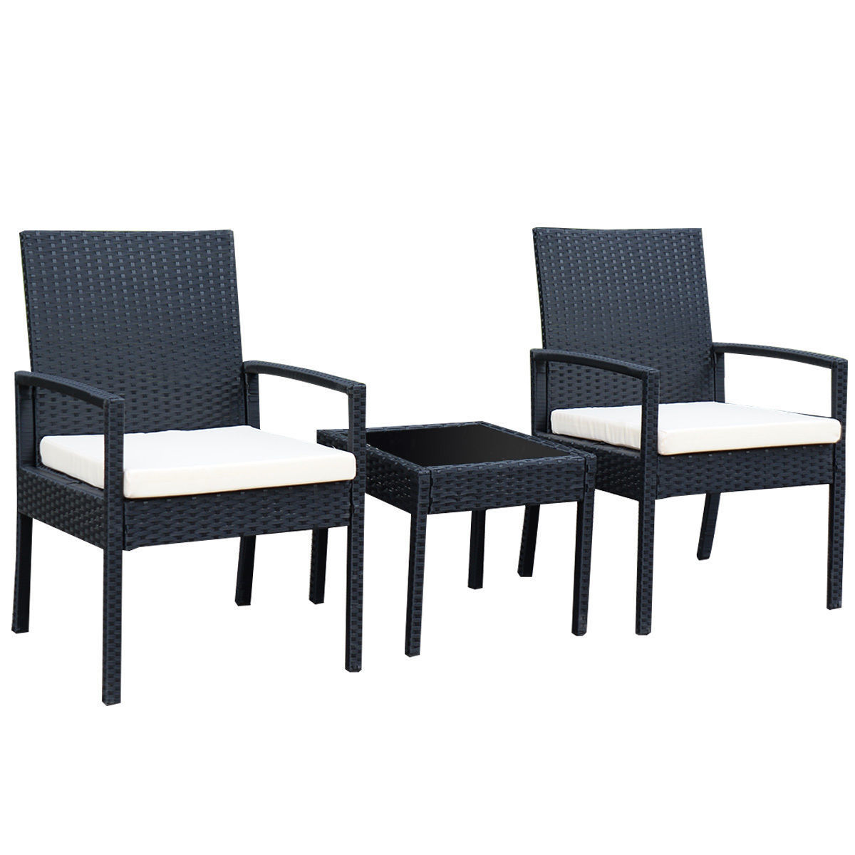 GHP Set of 3 Rattan & Steel Outdoor Wicker Coffee Table w 2 Cushioned Chairs & Armrest