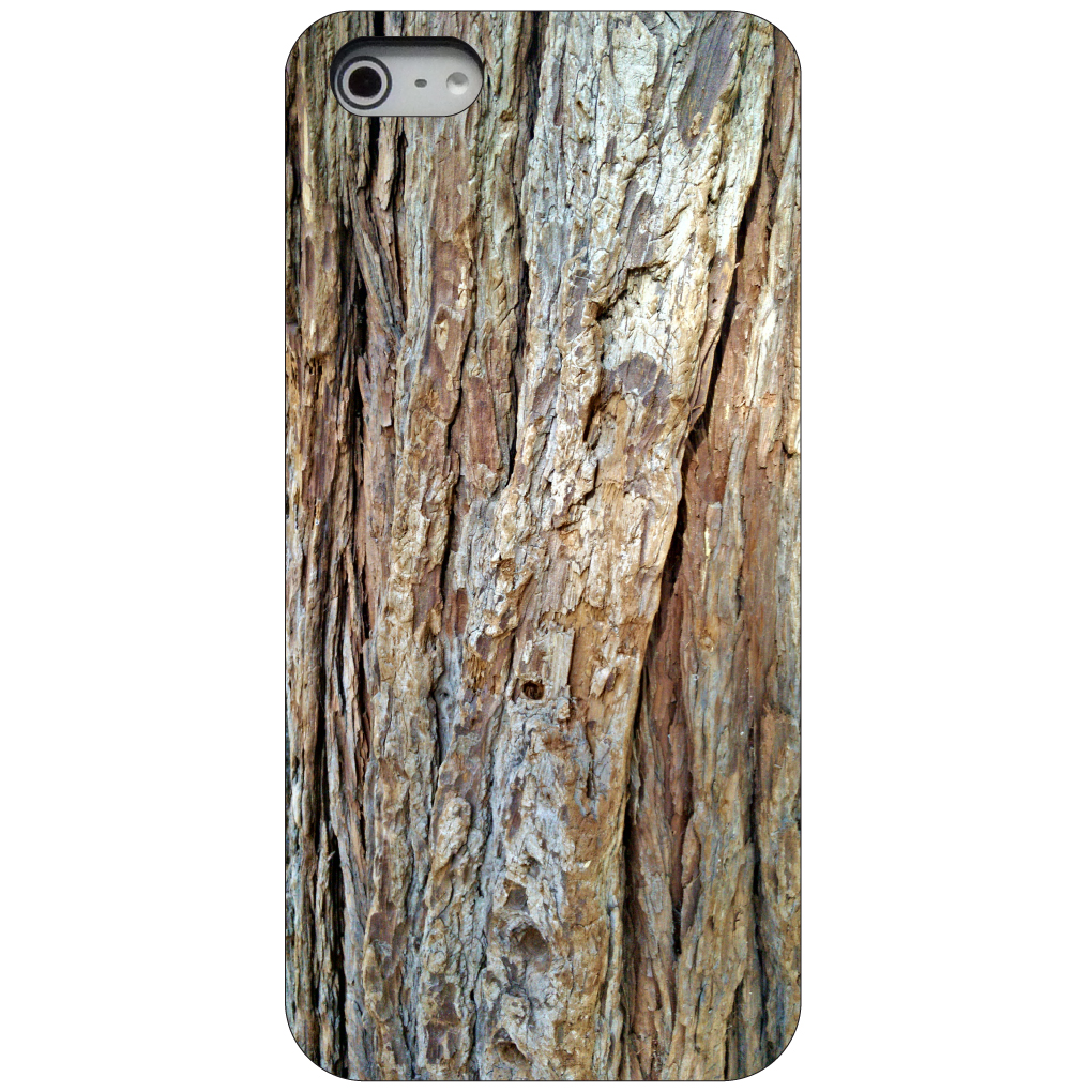 CUSTOM Black Hard Plastic Snap-On Case for Apple iPhone 5 / 5S / SE - Yosemite Redwood Tree