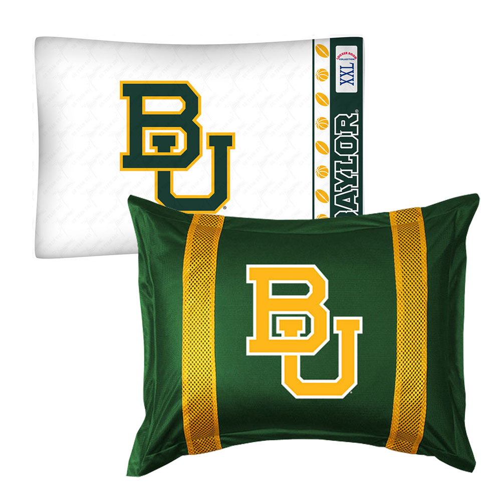 2pc NCAA Baylor University Bears Pillowcase and Pillow Sham Set College Team Logo Bedding Accessories