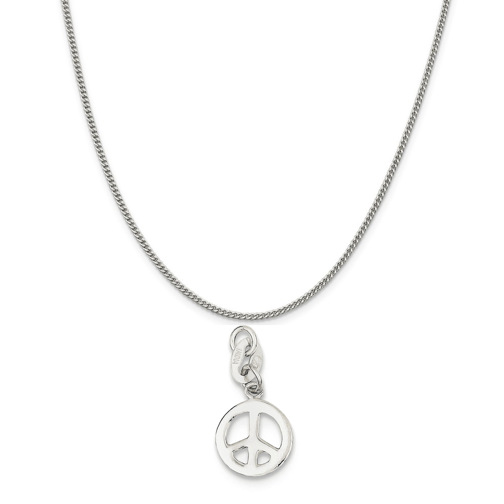 Sterling Silver Polished Peace Charm on a Sterling Silver Curb Chain Necklace, 16""