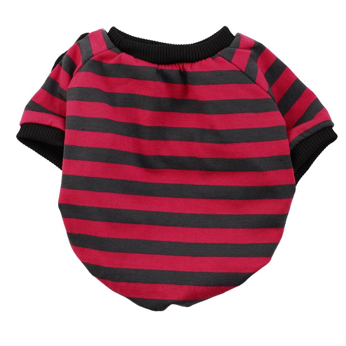 Pet Dog Cotton Fashion Coat Clothes T-shirt Apparel Red Black S