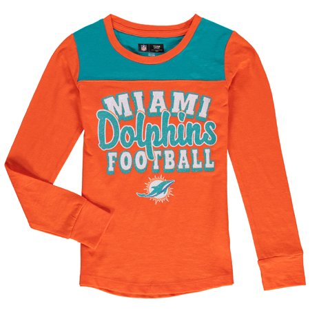 Miami Dolphins 5th & Ocean by New Era Girls Youth Glitter Football Long Sleeve T-Shirt - Orange