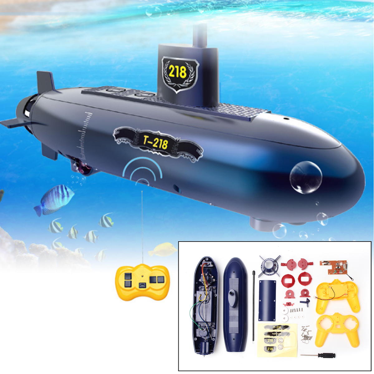 Mini RC Submarine Remote Control Under Water Boat Ship 6 Channels DIY Education Children Kids Toy Gift by