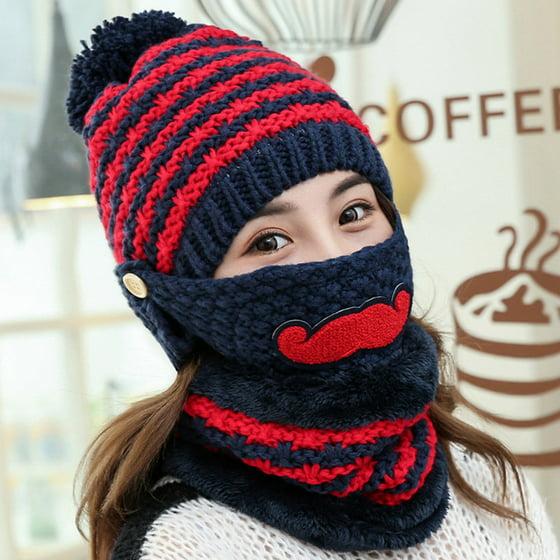 934adc081f9d6 Moderna - Moderna Women s Winter Warm Knitted Beanie Bobble Hat Outdoor  Face Mouth Mask + Scarf - Walmart.com