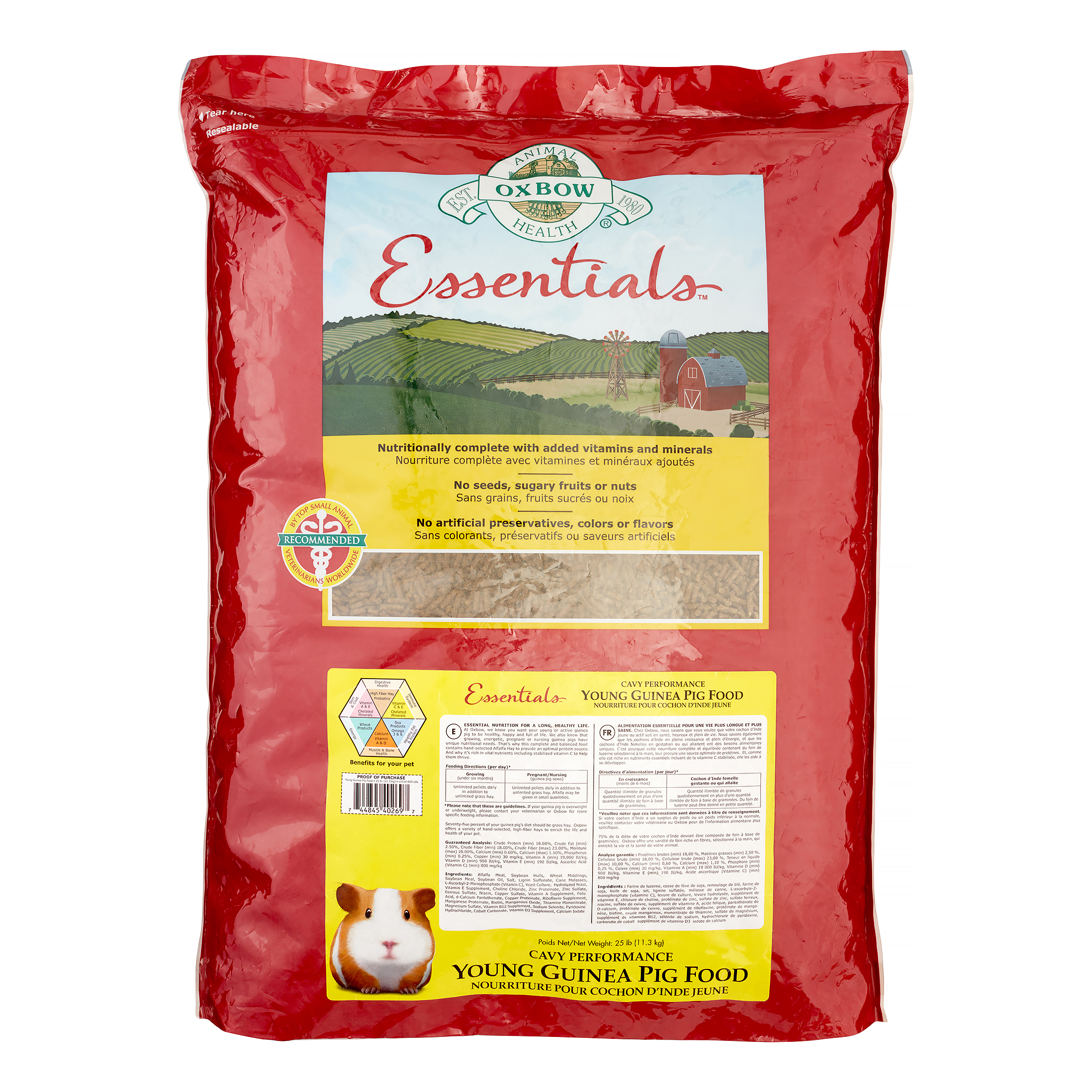 Oxbow Essentials Adult Dry Guinea Pig Food, 25 lbs.