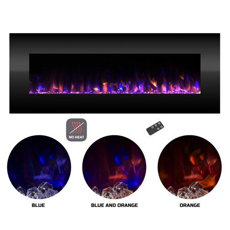 Electric Fireplace No Heat Decorative Wall Mounted Color Changing Led Fire And Ice Flames 54 Inch By Northwest