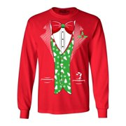 Shop4Ever Men's Christmas Tuxedo with Tree Vest Long Sleeve Shirt