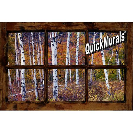 Birch Forest Window One-piece Peel & Stick Canvas Wall