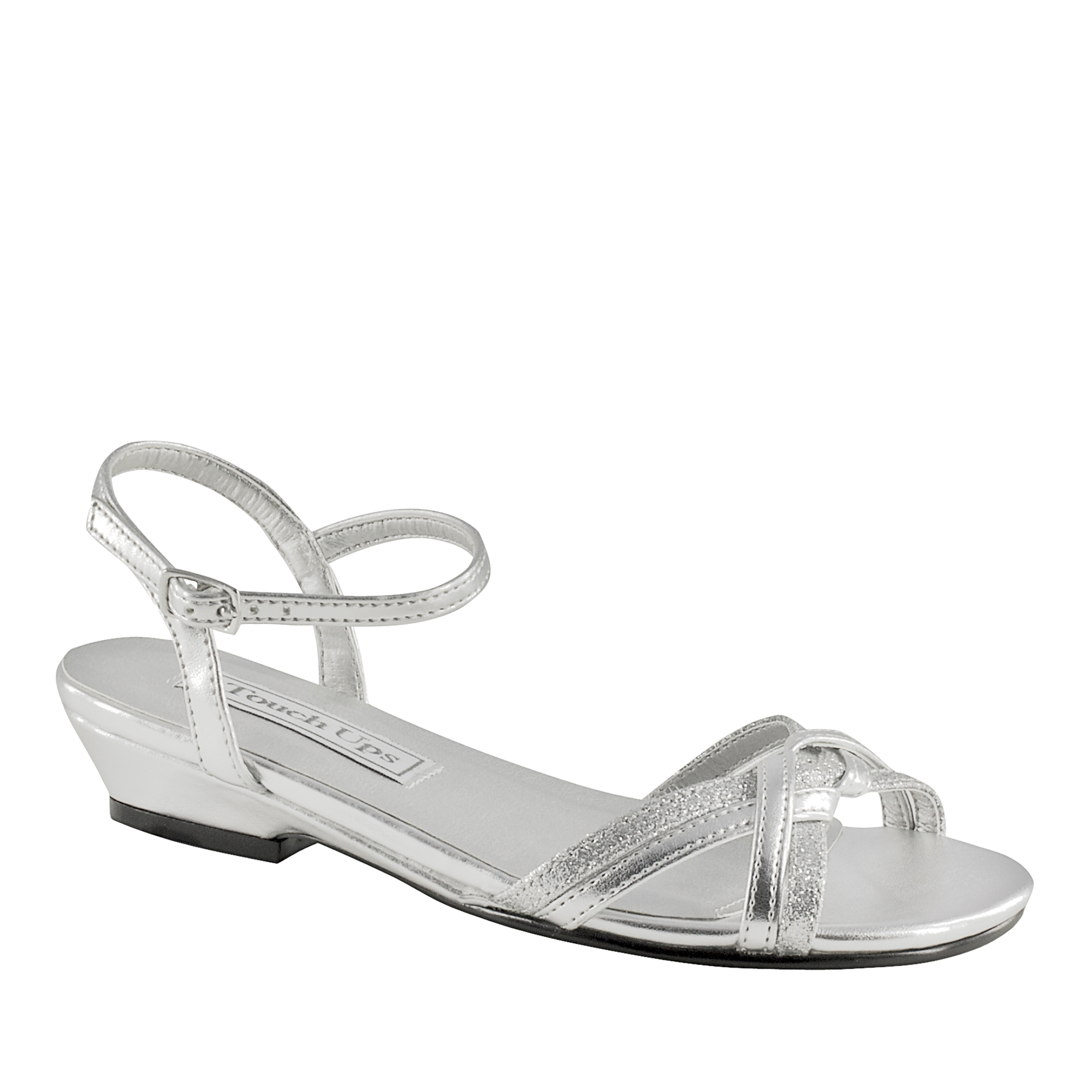 Touch Ups 156MO Melanie Jr. Silver Synthetic Womens Sandal, Silver, 10 M US Toddler