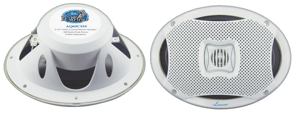 Lanzar AQ69CXW 500 Watts 6-InchX9-Inch 2-Way Marine Speakers (White) by