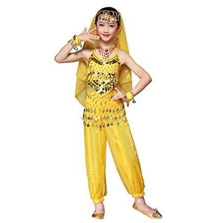 Maylong Girls Harem Pants Belly Dance Outfit School Halloween Costume DW63 (Medium, Yellow)