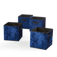Urban Shop Crushed Velvet 4 pack Collapsible Storage Cubes, Navy