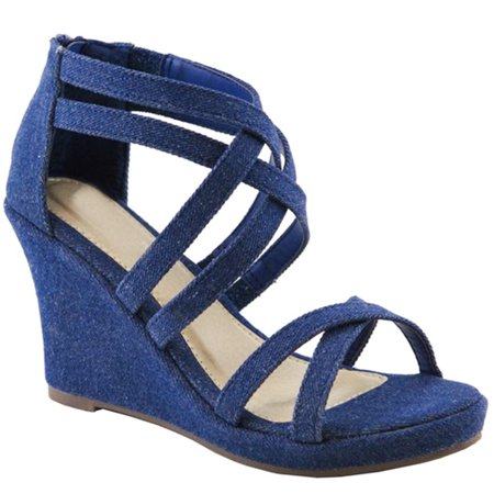 SNJ - Women s Open Toe Strappy Ankle High Wedge Heel Zipper Back Sandal (FREE  SHIPPING) - Walmart.com 088ecf874c4b