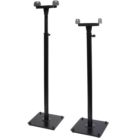 Surround Sound Stands - VideoSecu 2 Packs Surround Sound Bookshelf Floor Speaker Stands Tilt Side Clamp Heavy Duty Mounts Black BJR