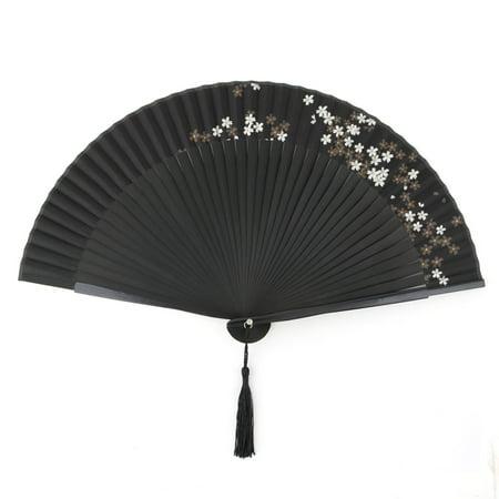 Ladies Bamboo Ribs Flower Print Japanese Style Portable Folding Fan Black