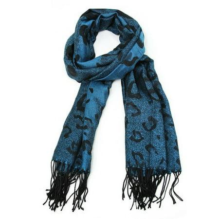 Fine Scarf - Pashmina Scarf With Oversized Leopard Spots - Fine Blue Cashmere Wool Scarf