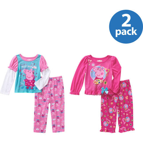 Peppa Pig Toddler Girls' Long Sleeve Pajama Mix and Match Your Choice 4 Pack Value Bundle