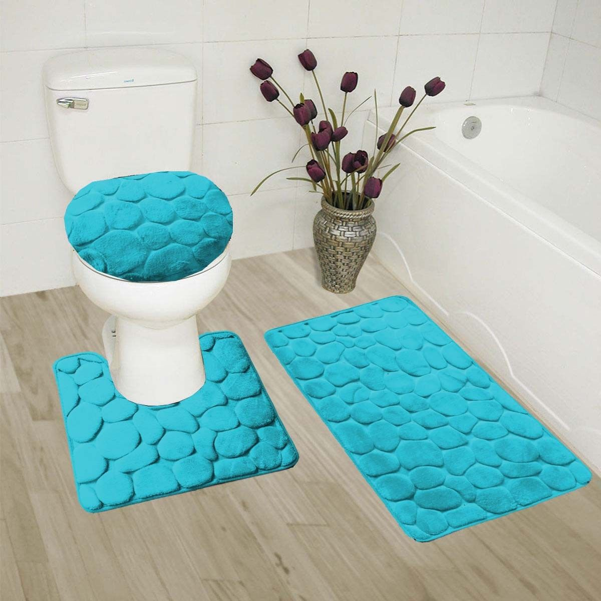 "TURQUOISE 3-Piece Rock Memory Foam Bathroom Mat Set, Flannel Embossed Rug 19""x 30"", Contour Mat 19""x19"", and Toilet Lid Cover 19""x19"" with Non-Skid Rubber Back"