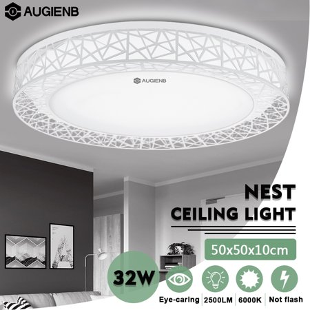 Large Pendant Lighting Fixture - AUGIENB Large Nest LED Flush Mount Down Ceiling Light Home Fixture  Pendant Lamps with Eye Protection, White 2500LM, 32W 50x50x10cm for Bedroom Living room Kitchen
